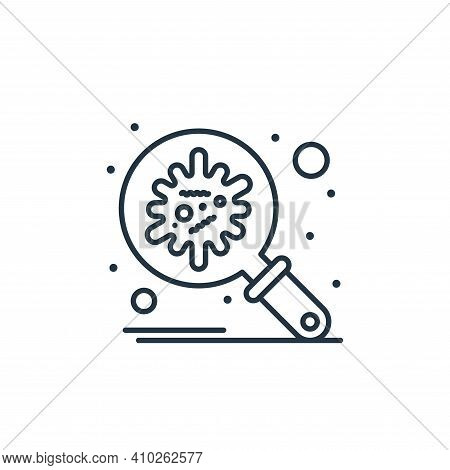 virus search icon isolated on white background from coronavirus collection. virus search icon thin l