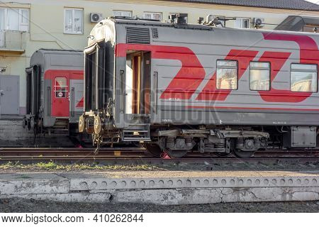 Russia, Volgograd - 09/25/2020: Carriages Of Passenger Trains Standing At The Terminal Station And W