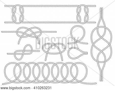 Set Of Nautical Rope Knots. Marine Rope Knot