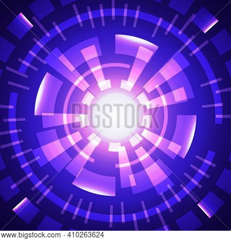 Abstract Tech Purple And Blue Design Of Interface Pattern Template. Center Style Of Copy Space Backg