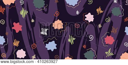 Abstract Colorful Doodle Design Of Texture Artwork Style Template. Overlapping With Vivid Colors Des