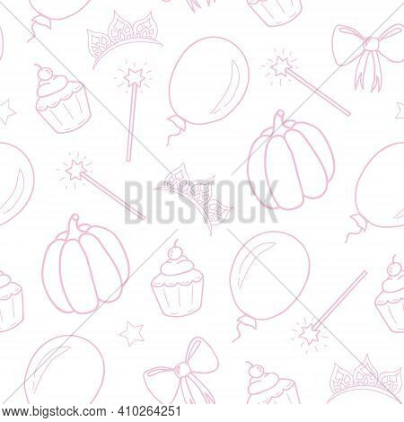 Seamless Pattern For A Little Princess. White Background. Hand Drawing. Vector Illustration.