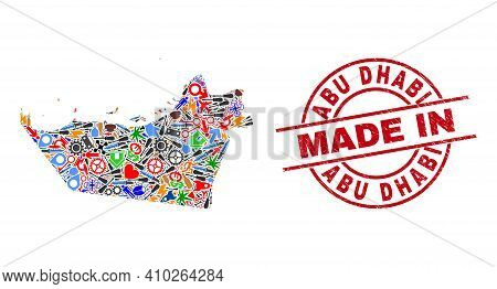 Science Abu Dhabi Emirate Map Mosaic And Made In Distress Stamp. Abu Dhabi Emirate Map Mosaic Create