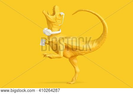 Happy T-rex With Phone, Headphones And Glasses. 3d Illustration