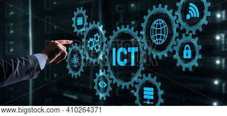 Information And Communications Technology Concept 2021. Businessman Is Pressing On The Virtual Scree