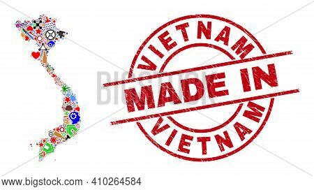 Production Mosaic Vietnam Map And Made In Grunge Rubber Stamp. Vietnam Map Mosaic Composed From Span