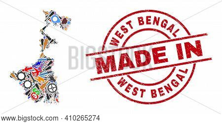 Science Mosaic West Bengal State Map And Made In Scratched Rubber Stamp. West Bengal State Map Compo