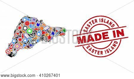 Service Easter Island Map Mosaic And Made In Distress Stamp Seal. Easter Island Map Mosaic Composed