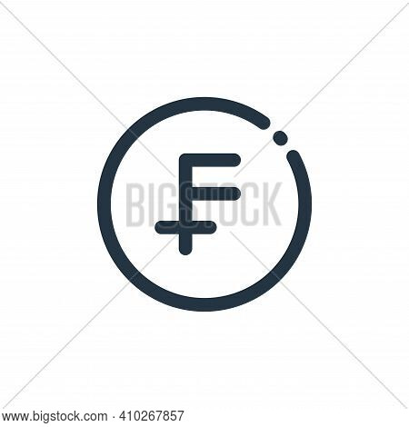 swiss franc icon isolated on white background from currency collection. swiss franc icon thin line o