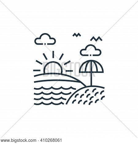 sunrise icon isolated on white background from tourism collection. sunrise icon thin line outline li