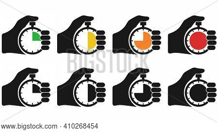 Stopwatch In Hand, Icon Set Black Isolated On White Background. Vector Illustration Flat Design. Spo