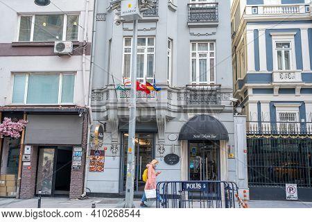 Beyoglu, Istanbul, Turkey - 02.17.2021: Building Of Hotel Taksim Star Near Belgium Embassy In Taksim