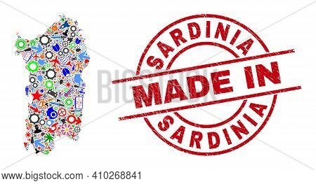 Engineering Sardinia Map Mosaic And Made In Distress Rubber Stamp. Sardinia Map Abstraction Designed