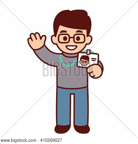Cute Cartoon Character Holding Id Badge And Waving Hello. New Employee At Work. Funny Office Staff D