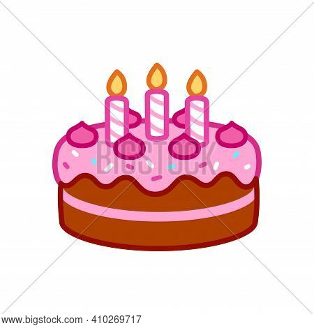 Birthday Cake Icon With Candles, Pink Frosting And Sprinkles. Simple Cartoon Doodle, Isolated Vector