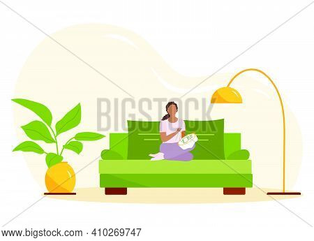 Vector Illustration Woman Engaged In Needlework. Girl Embroidering. Cross-stitch Relaxing At Home Li