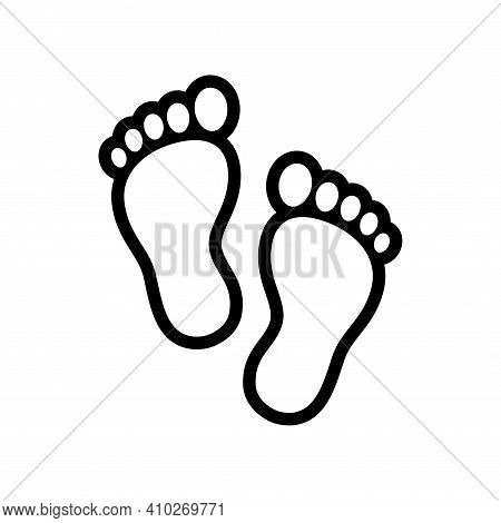 Human Feet Outline Icon, Simple Stylized Footprints. Isolated Vector Illustration, Logo Design Eleme