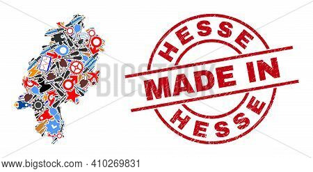 Engineering Mosaic Hesse Land Map And Made In Distress Stamp Seal. Hesse Land Map Mosaic Composed Wi