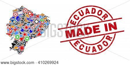 Education Mosaic Ecuador Map And Made In Distress Stamp Seal. Ecuador Map Mosaic Created With Wrench