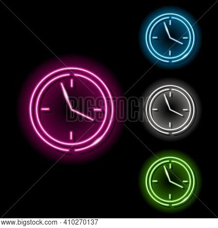 Set Of Neon Clock Icons In Four Different Colours Isolated On Black Background. Timer, Date, Shedule