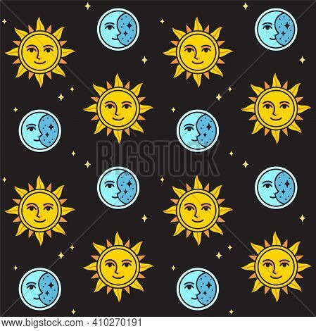 Sun And Moon Seamless Pattern On Black Background. Vintage Style Sun And Moon Face Drawing. Vector C