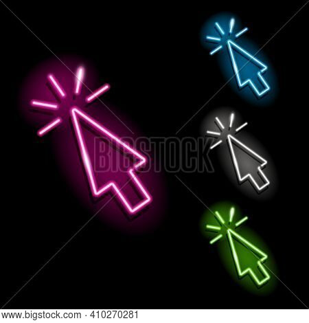 Set Of Neon Mouse Cursor Click Icons In Four Different Colours Isolated On Black Background. Web, Co