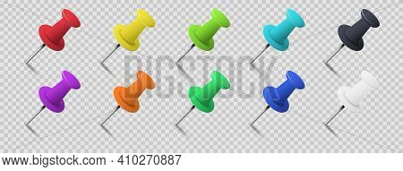 Set Of Colorful Pin Tacks With Shadow Isolated On Transparent Background. Plastic Paperwork And Sewi