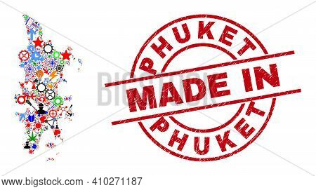 Engineering Mosaic Phuket Map And Made In Scratched Stamp Seal. Phuket Map Abstraction Composed With