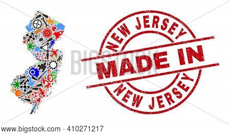 Technical New Jersey State Map Mosaic And Made In Scratched Stamp Seal. New Jersey State Map Mosaic