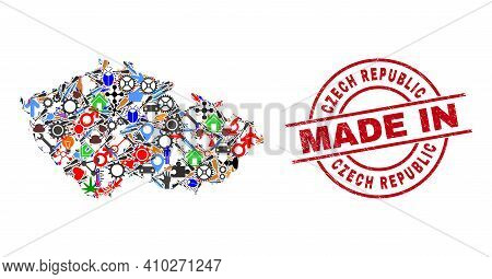 Education Mosaic Czech Republic Map And Made In Scratched Rubber Stamp. Czech Republic Map Mosaic Co