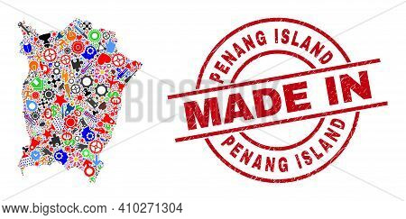 Service Mosaic Penang Island Map And Made In Grunge Watermark. Penang Island Map Composition Created