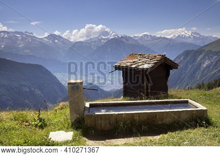 View From Belalp On The Swiss Alps Above The Village Naters In The Canton Valais