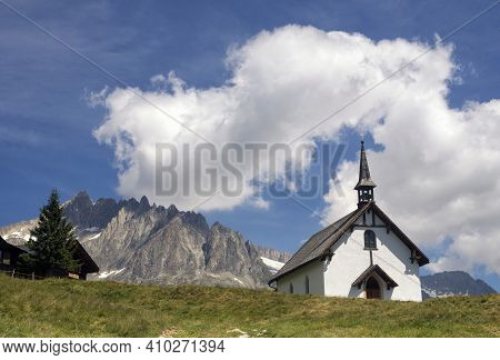 Chapel In The Swiss Holiday And Ski Resort Belalp Above The Village Naters In The Canton Valais