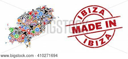 Technical Ibiza Island Map Mosaic And Made In Textured Stamp Seal. Ibiza Island Map Mosaic Created F