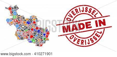 Production Mosaic Overijssel Province Map And Made In Textured Rubber Stamp. Overijssel Province Map