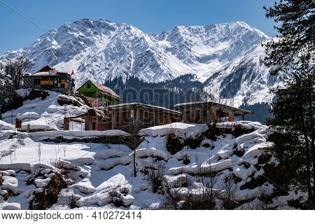 A Snow Covered Village In Himalayan Mountain Valley In Himachal Pradesh