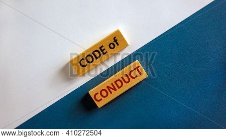 Code Of Conduct Symbol. Concept Words 'code Of Conduct' On Wooden Blocks On A Beautiful White And Bl