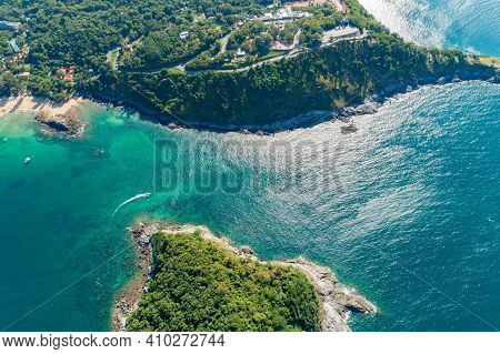 Aerial View Top View Seashore Tropical Island Amazing Nature View Beautiful Island In Phuket Thailan
