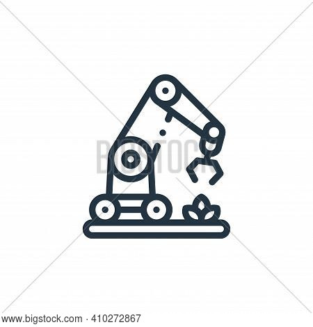 robotic arm icon isolated on white background from smart farm collection. robotic arm icon thin line
