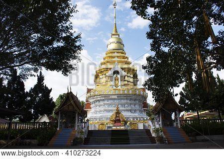 Beautiful Chedi Pagoda Stupa Of Wat Phra That Doi Saket Or Phrathat Doi Saket Temple For Thai People