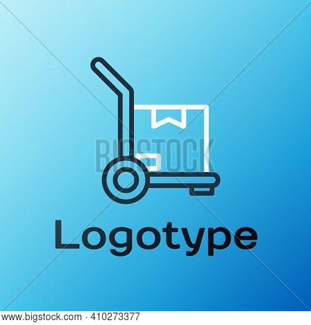 Line Hand Truck And Boxes Icon Isolated On Blue Background. Dolly Symbol. Colorful Outline Concept.