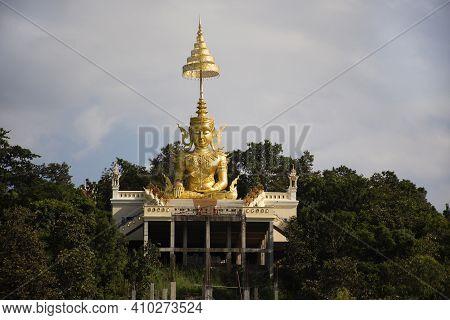 Big Golden Maitreya Or Metteyya Buddha Image Statue Of Wat Phra That Doi Saket Temple For Thai Peopl