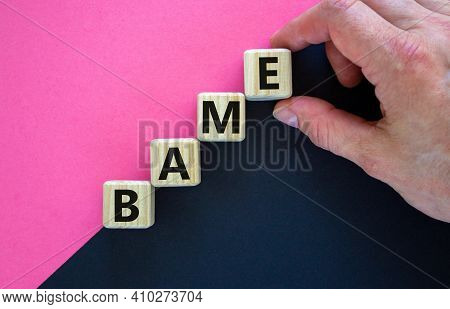 Bame Symbol. Abbreviation Bame, Black, Asian And Minority Ethnic On Wooden Cubes. Beautiful Purple A