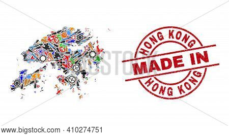 Service Hong Kong Map Mosaic And Made In Grunge Stamp. Hong Kong Map Composition Created With Spanne
