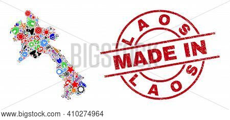 Technical Mosaic Laos Map And Made In Textured Rubber Stamp. Laos Map Mosaic Composed From Wrenches,