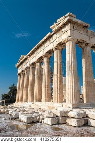 Parthenon Temple On Acropolis, Athens, Greece. It Is Top Landmark Of Athens. Ruins Of Famous Buildin