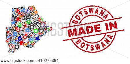 Development Mosaic Botswana Map And Made In Textured Rubber Stamp. Botswana Map Composition Composed