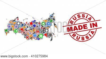 Technical Russia Map Mosaic And Made In Scratched Rubber Stamp. Russia Map Mosaic Formed From Spanne