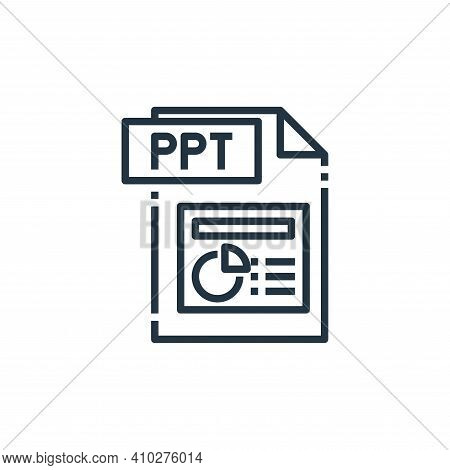 ppt file icon isolated on white background from file type collection. ppt file icon thin line outlin