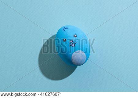Easter Art. Funny Bunny Decor. Festive Gift. Holiday Celebration. Blue Egg Painted Pretty Rabbit Sno